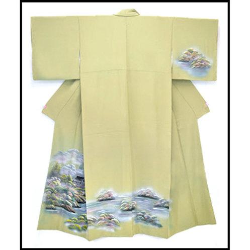 Landscape Sage Chirimen Silk Kimono