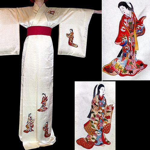 Beautiful Women Cream Kimono