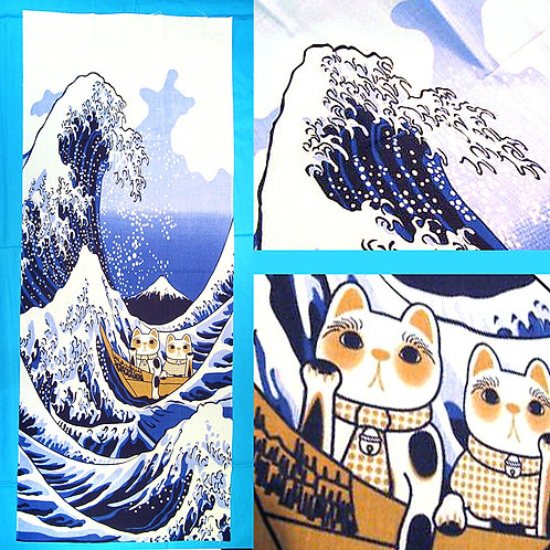 Great Wave & Maneki Neko Tenugui