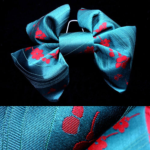 2 Part Teal & Red Bow Obi