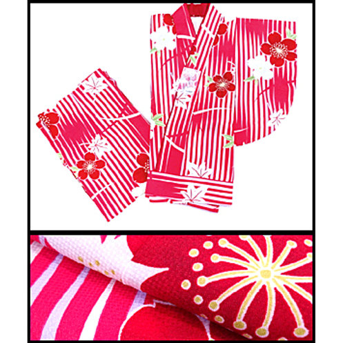 2-Part Kimono - Red Stripes - M