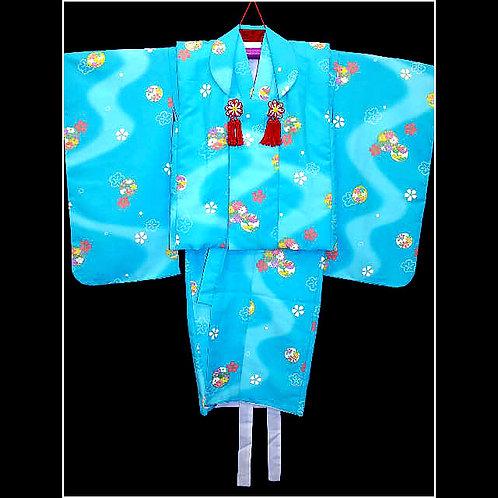 Girl's Blue Kimono & Hifu
