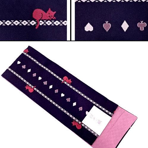 Cats & Card Suits Hanhaba Obi - Black