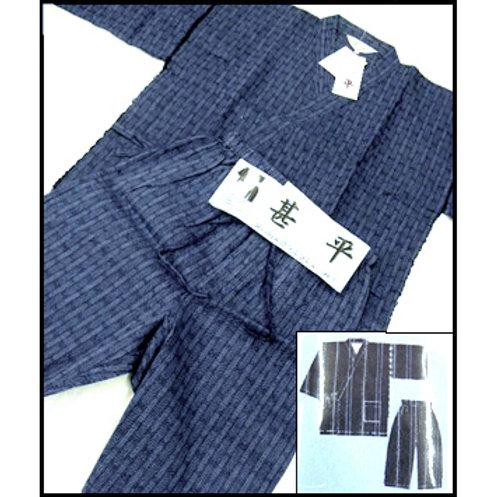 2 Tone Blue Shijira-ori Jinbei - M