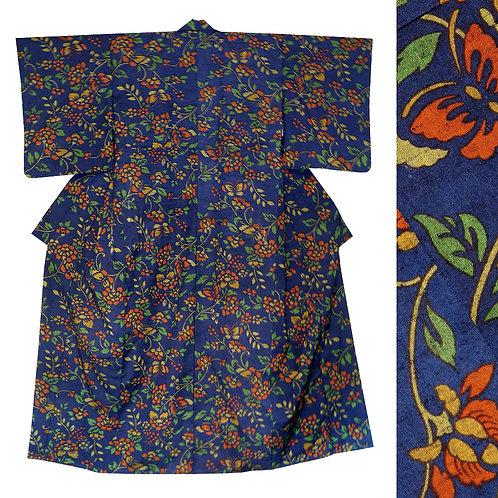 Dark Blue Floral Wool Kimono