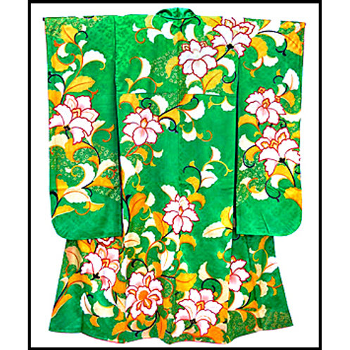 A Glorious Green Silk Kimono