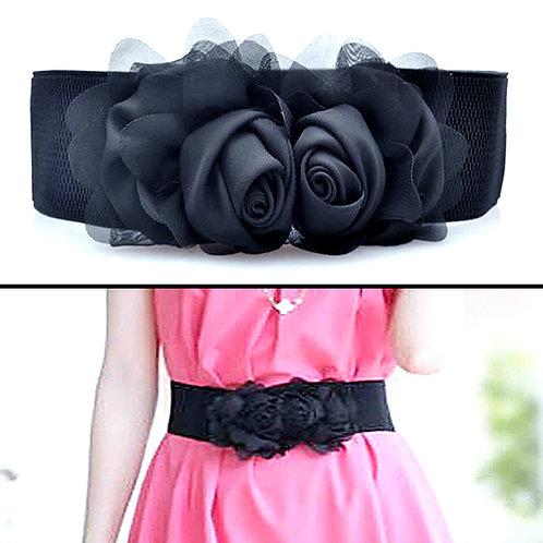Chiffon Flowers Stretch Belt - Black
