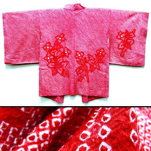 Red & White Silk Shibori Haori