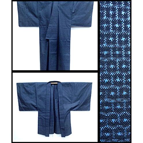 Blue Silk Kimono & Haori Ensemble