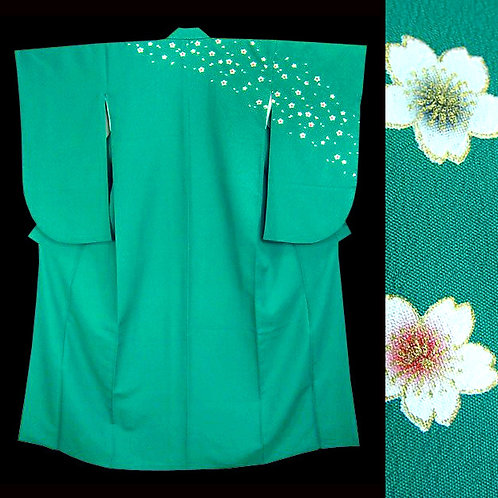 Green & Sakura Ko Furisode