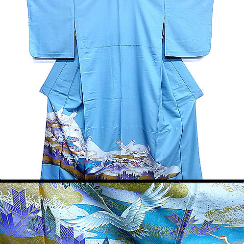 Cranes & Clouds Blue Kimono