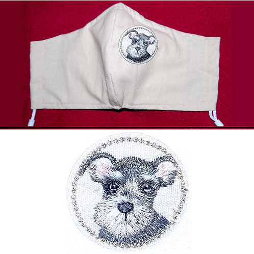 Embroidered Schnauzer Dog - Face Mask - 6 Colours - 2 Sizes