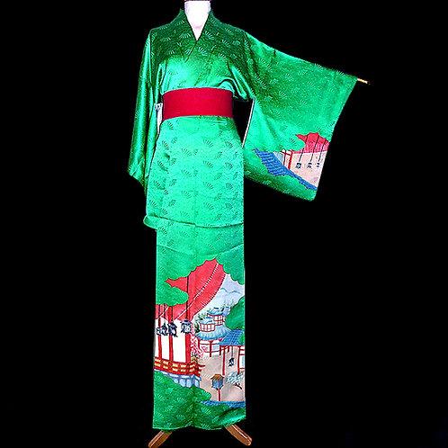 Rare, Green Kumodori Scene Kimono