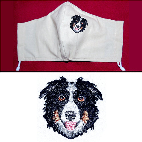 Embroidered Collie Dog - Face Mask - 6 Colours - 2 Sizes