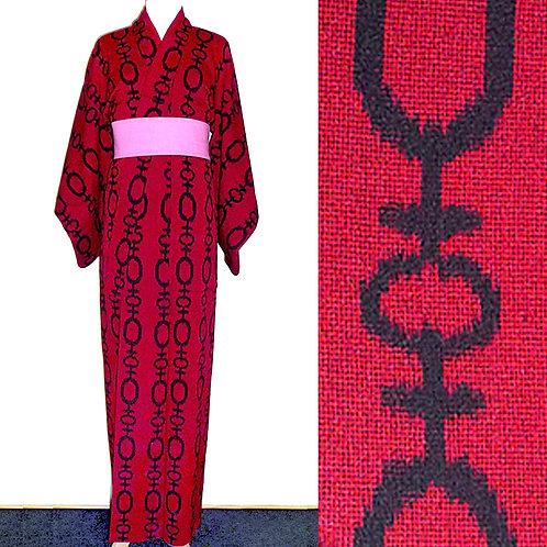 Banded Red & Black Kimono