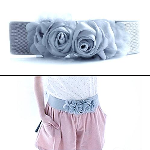 Chiffon Flowers Stretch Belt - Grey