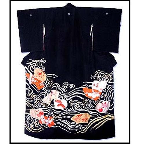 Geisha's Flowers & Waves Hikizuri kimono