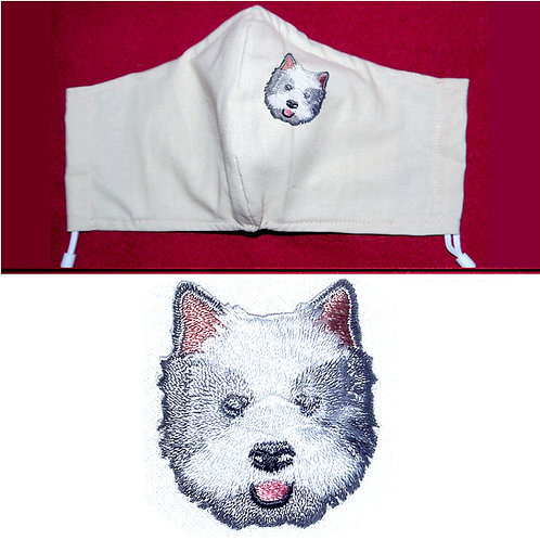 Embroidered Westie Dog - Face Mask - 6 Colours - 2 Sizes