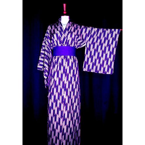 Purple & White Yagasuri Kimono
