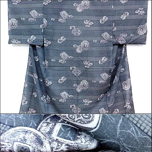Coins & Tsuba Naga-Juban Kimono
