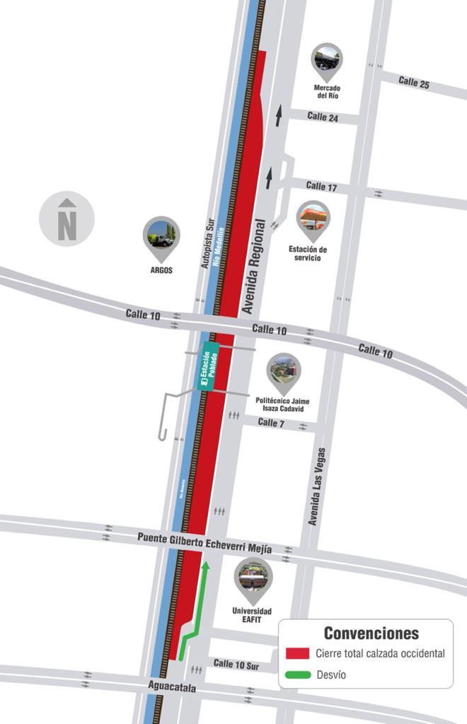 Este fin de semana habrá cierre vial en la avenida Regional, debido a obras en las redes eléctricas.