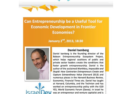 Can Entrepreneurship Be a Tool for Economic Development in Frontier Markets?