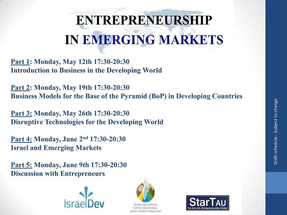 Entrepreneurship in Emerging Markets