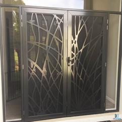 Decoview lasercut aluminium security Reeds double door