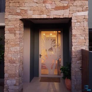 Decoview perforated aluminium mesh security door Yukka white