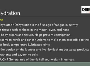 HYDRATION …. dehydration is 1st sign of fatigue why and how much?