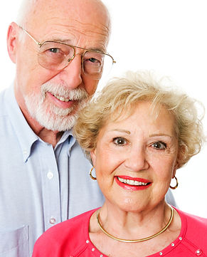 Portrait of happy senior couple isolated