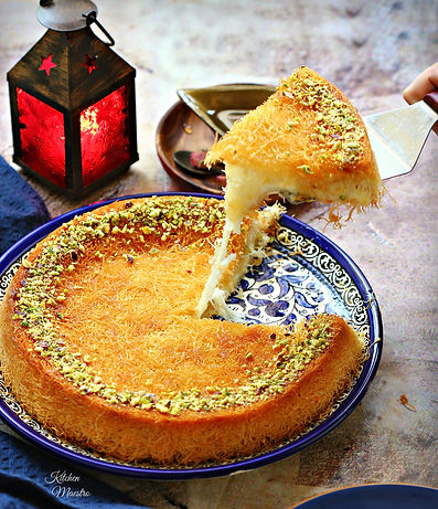 Konafa stuffed with mix cheese and ashta