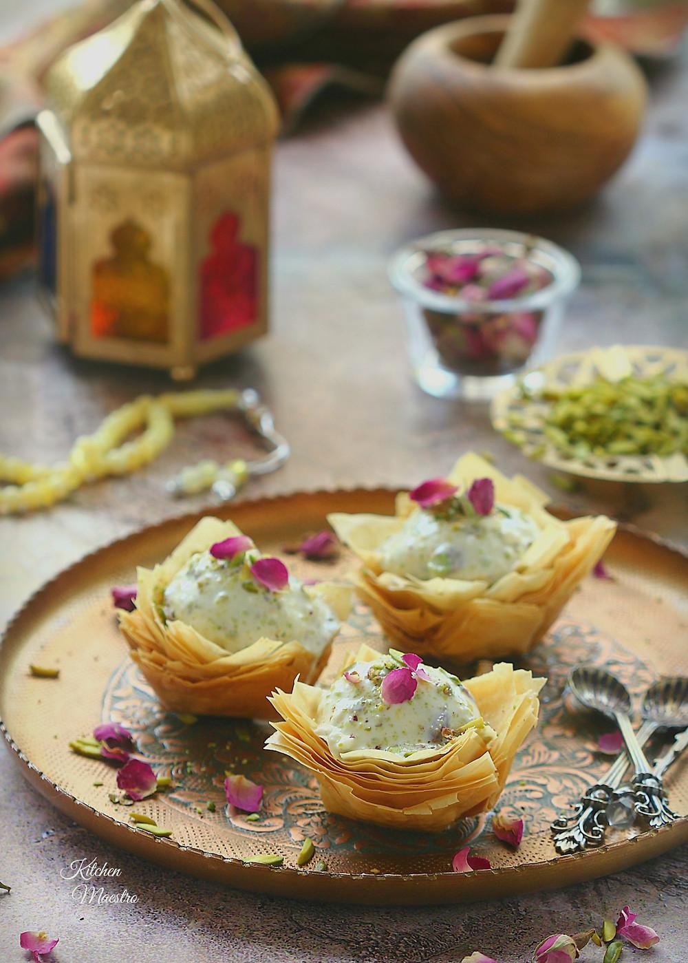 arabic ice cream in baklava cups