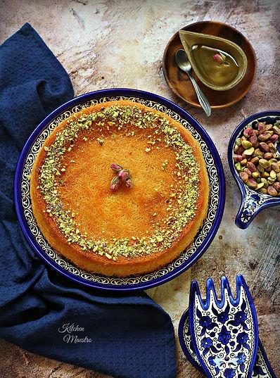Kunafa with cheese and Ashta