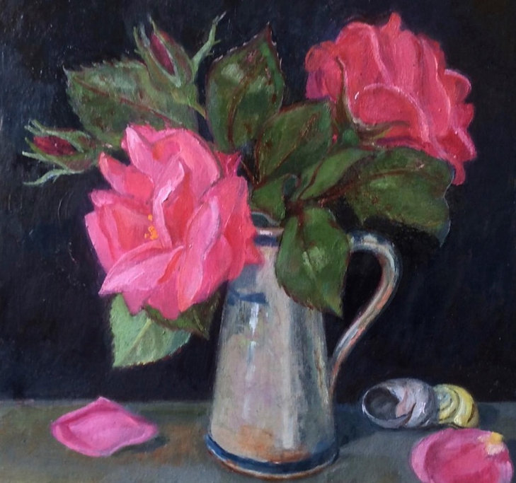 Gatherings from daily walk,- first Roses & snail shells