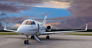 Private jet on the runway with the stair