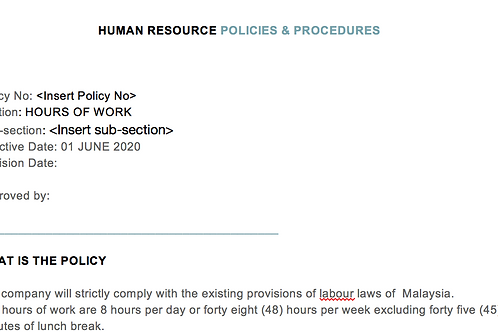 HR Policy: Hours of Work
