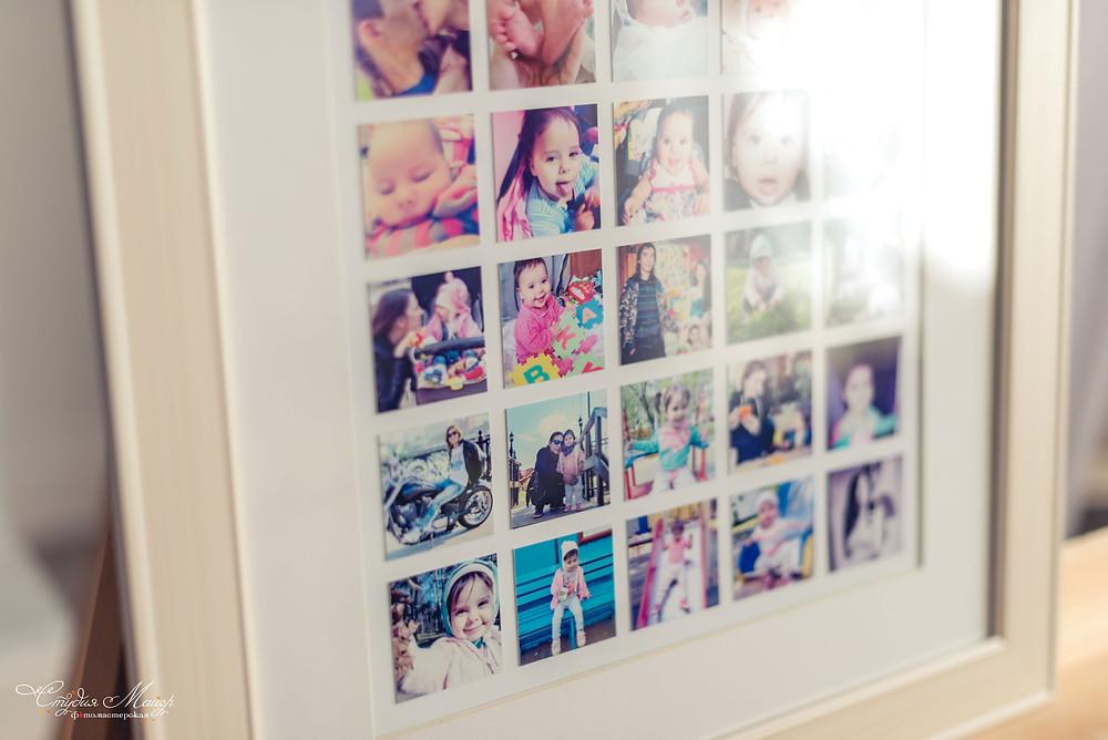 Фотографии из инстаграм, оформленные в багет и паспарту