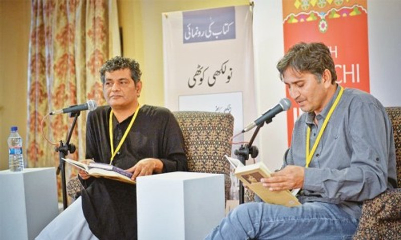 Me (right) at Karachi Literary Festival 2016, in conversation with renowned writer Mohammad Hanif.