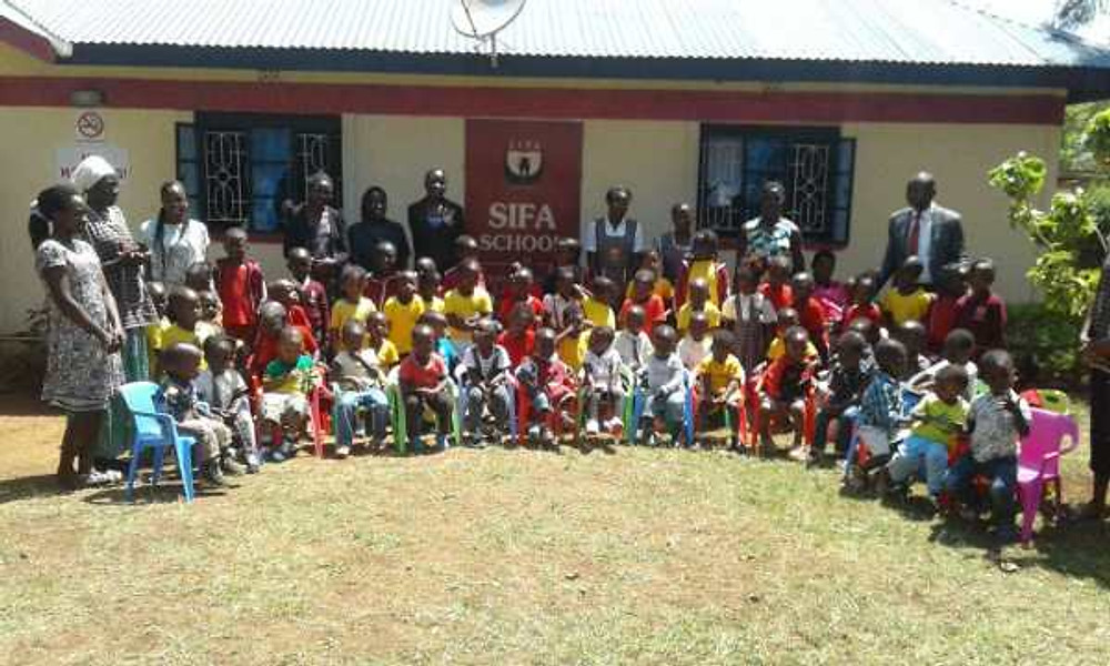 At an event held at the Sifa School with all our students.