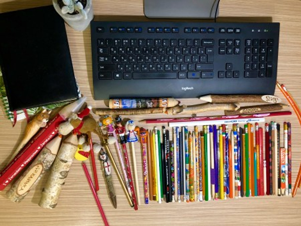 Olga's pencil collection.