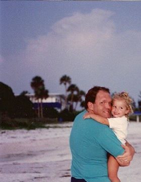 My dad and me (age two) on Anne Marie Island.
