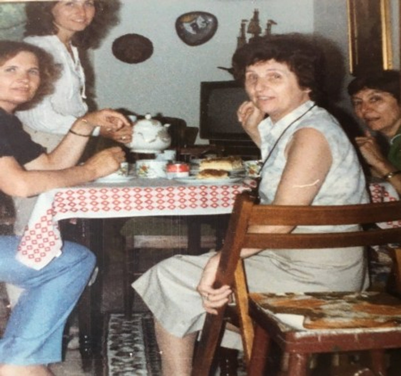 Kaffeeklutsch circa 1975.  Right to left: Tante Thea, Oma's sister; my mother, Oma, and Tante Hanna.