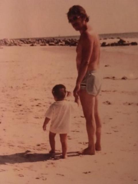 With my little girl Nicole in Hilton Head, South Carolina, 1981.