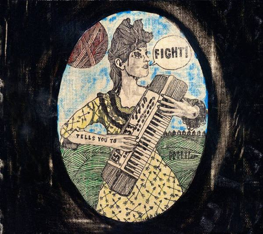 The cover art of Renee-Louise Carafice Tells You to Fight, painted by the artist Frohawk Two Feathers.