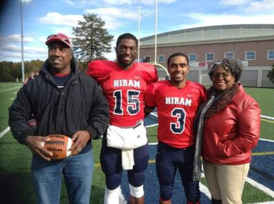 In my #15 jersey with my parents and teammate at Hiram college, 2017.