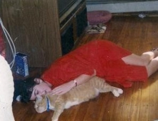 Erin with her cat.