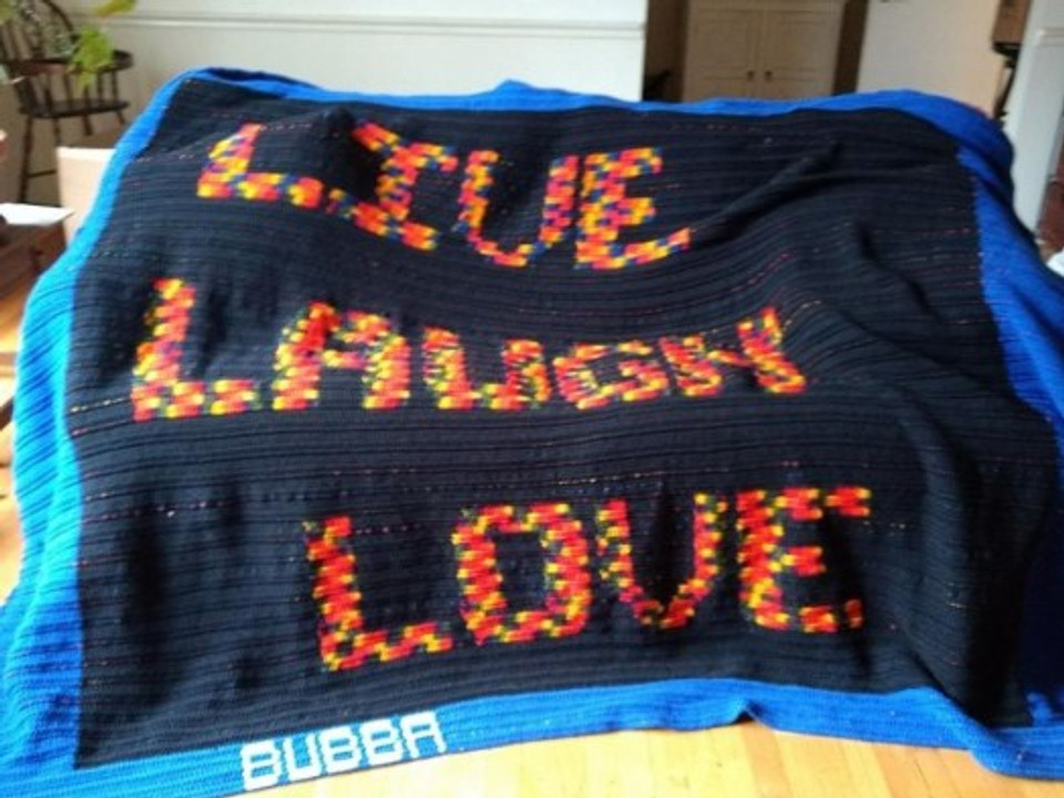 "One of the ""BUBBA"" blankets that Paul has made."