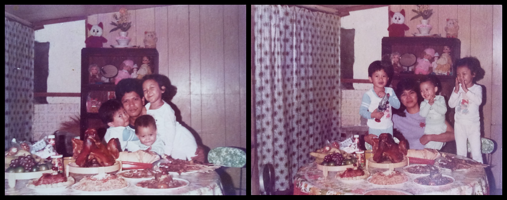 Our traditional Christmas Eve dinner (I'm on the right), 1985.