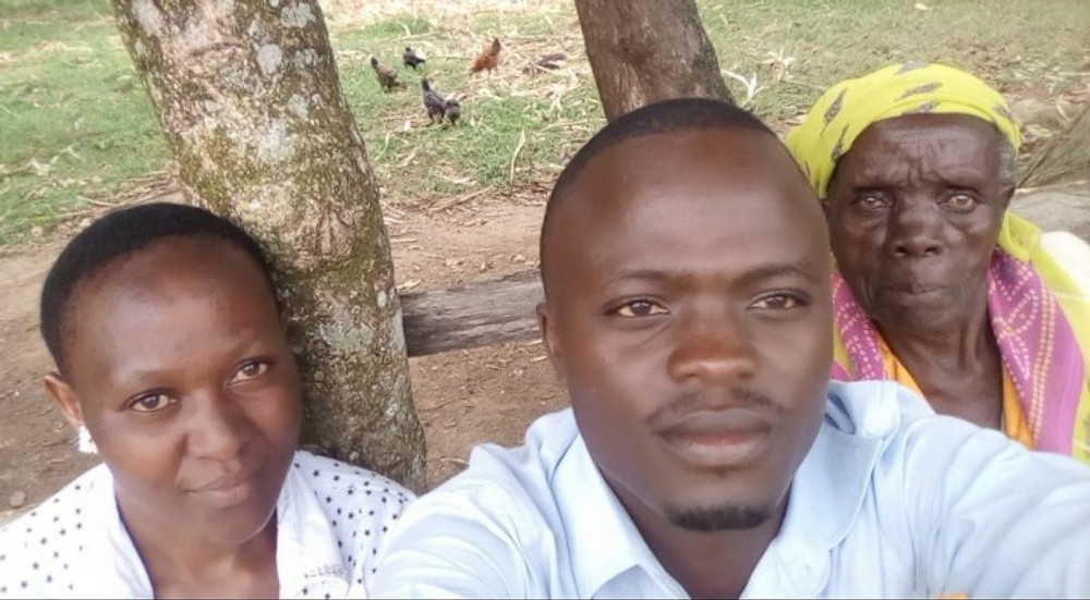 Nyamu with his fiancee and his maternal grandmother.